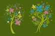 Two vector trees made from decorative flower