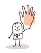 businessman with big hand up