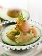 shrimp cocktail over open avocado