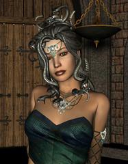 Medusa mit bösartigen Schlangen