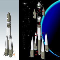 Vector hi-detailed space rocket with first spaceship