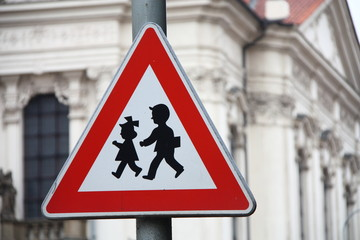 Road sign for the security of children near a school.