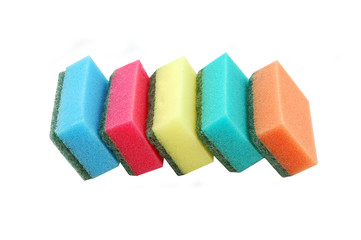 Five multicolor kitchen sponges for ware washing