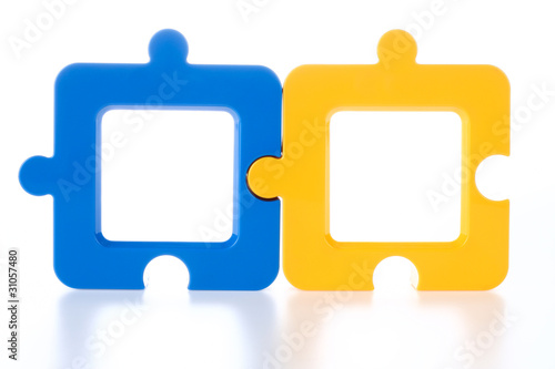 Couple of Jigsaw-Shape Photo Frame in Blue and Yellow