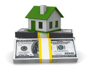 Small house and cash on white background. Isolated 3D image