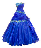 blue organza evening dress, over white
