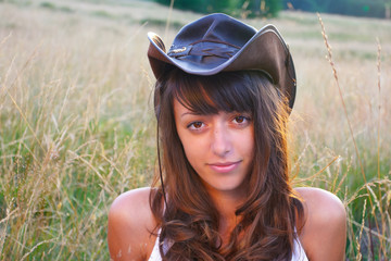 Cowgirl in the wheat field