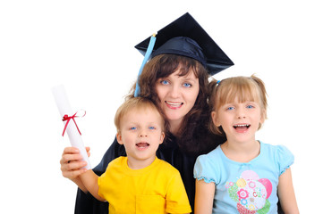 Young mother is graduating with children