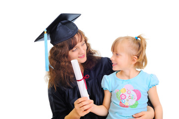 Young mother is graduating with a child