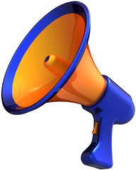 Megaphone attention news announcement. Orange blue bullhorn