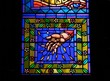 Stained glass with hand & flowers, St. Vitus Cathedral, Prague