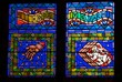 Close-up of St. Vitus Cathedral stained glass window, Prague