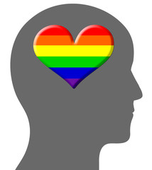 Head containing a gay rainbow heart