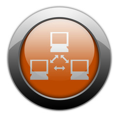 "Orange Metallic Orb Button ""Network"""