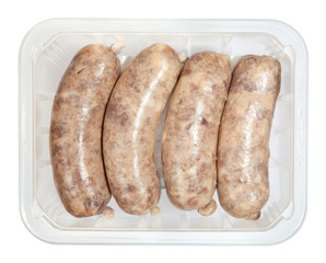 The hunting sausages in box isolated on white background