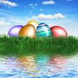 Frohe Ostern mit Spiegelung
