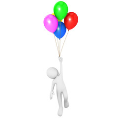 Man flying attached to multicolor balloons