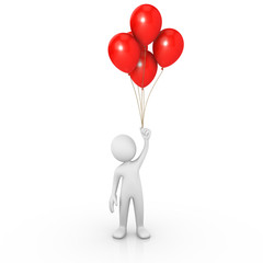 Man holding red balloons