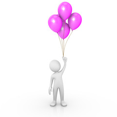 Man holding purple balloons