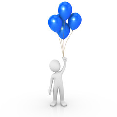 Man holding blue balloons