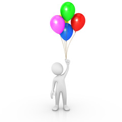 Man holding multicolor balloons