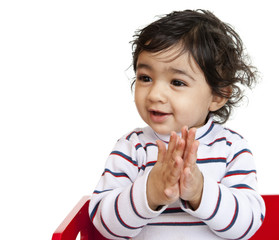 Happy Baby Girl Clapping Hands, Isolated, White