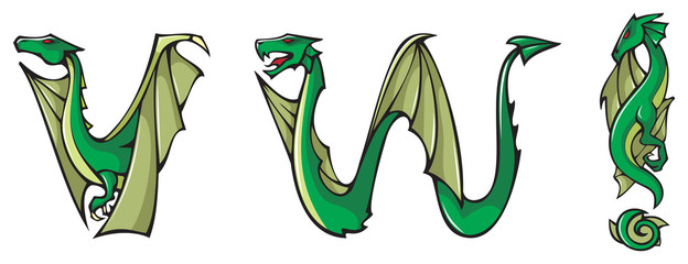 Dragons alphabet, letters V,W and !, fantasy font, vector