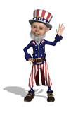 Uncle Sam Waving - 3d render poster