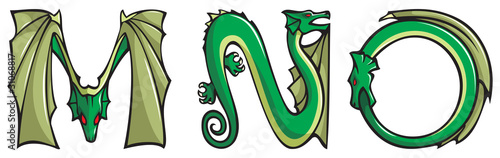 Dragons alphabet series, letters M,N,O, fantasy font, vector