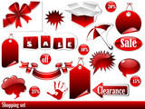 Vector of red shopping set