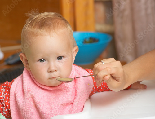 Baby food with a spoon