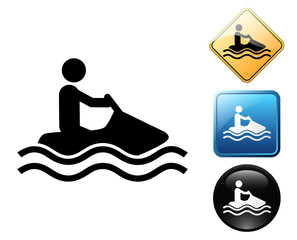Water motorcycle pictogram and signs