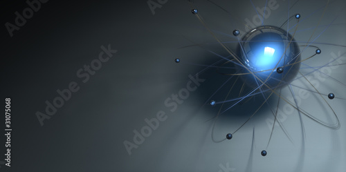 Leinwandbild Motiv Atom Modell Neon 10