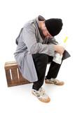 male homeless tramp over white background poster