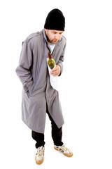 male homeless tramp over white background