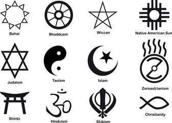 Vector 12 world religious symbols