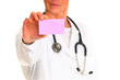 female doctor with stethoscope holding a pink note