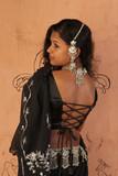 model displaying back open designer blouse and sari
