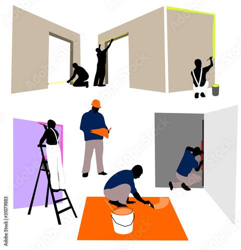 icone bricolage peintre en batiment et chef de chantier fichier vectoriel libre de droits. Black Bedroom Furniture Sets. Home Design Ideas