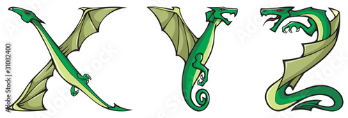 Dragons alphabet series, letters X,Y,Z, fantasy font, vector