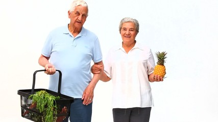Senior couple after the market