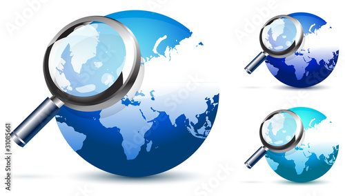 blue global search glossy vector icon
