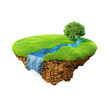 Idyllic natural landscape: lawn with river, waterfall and tree