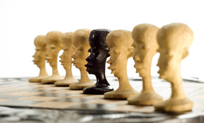 Unique chess pawn showing individuality
