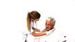 Nurse examining her male patient