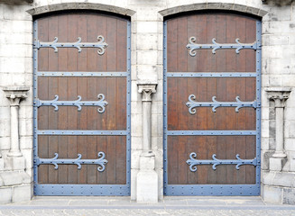 Two antique doors, Church of Our Lady, Bruges