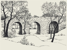 Landscape sketch of an old stone bridge in the forest