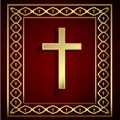 vintage golden cross and frame on red background.
