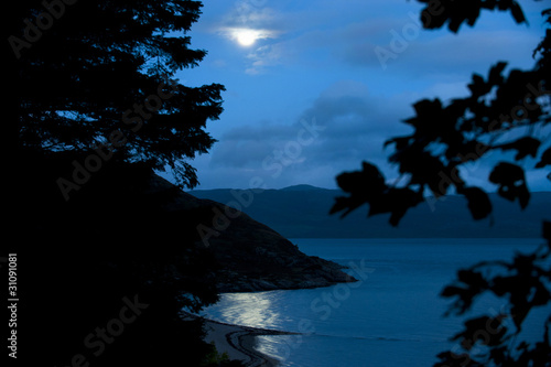 Foto op Plexiglas Volle maan Moonlight Over Loch Linnhe