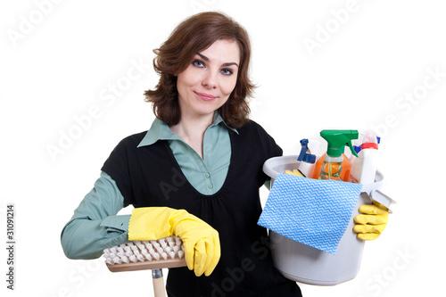 putzfrau mit eimer voller putzzeug und schrubber von. Black Bedroom Furniture Sets. Home Design Ideas